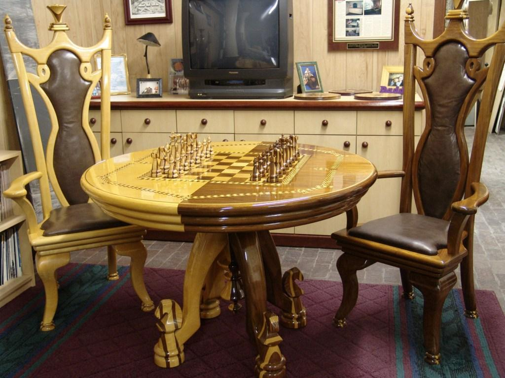 Chess Table, Chairs & Chess Pieces