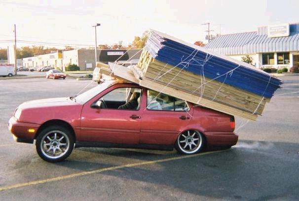 transporting plywood with a car