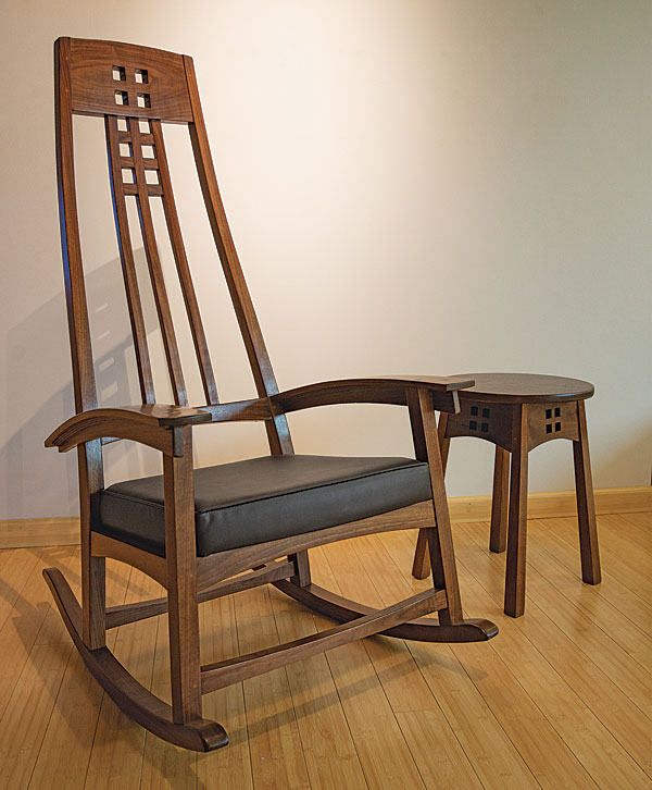 rocking chair fine woodworking desk mat office depot walnut arts and crafts finewoodworking woodworker william geyer