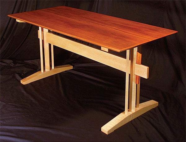 Ash And Mahogany Trestle Table