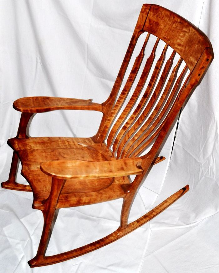 rocking chair fine woodworking desk yew figured cherry and walnut accent finewoodworking