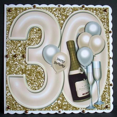30th Birthday Large Shaped Card Front Champagne