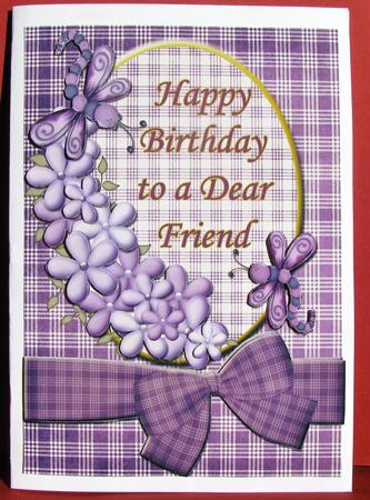 Happy Birthday Dear Friend Purple Quick Card Front