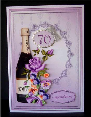 Champagne And Flowers 70th Birthday Decoupage Card Comes