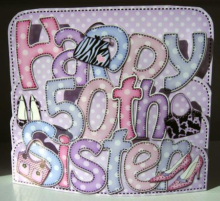 3D 50th Birthday Sister Shoes Amp Bags Pop Out Word Card