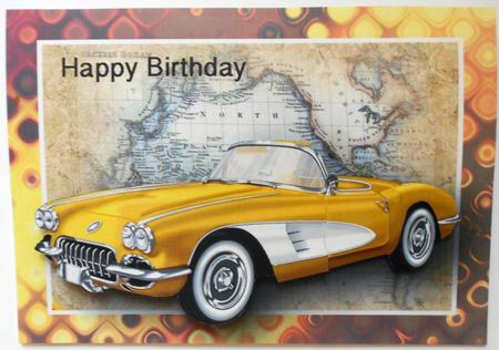 Yellow Vintage Sports Car Card Front CUP567602 376
