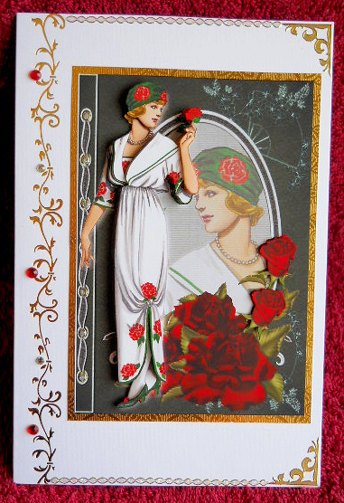 Art Nouveau Red Roses Fashion Reflections Decoupage