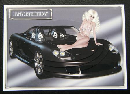 Hello Boys Sexy Girl On Porsche Male Age Card Part 1