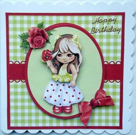 Cute Little Girl With Flower Decoupage Card Design
