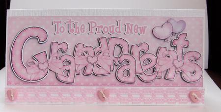 Large Dl New Baby Grandparents Felties Card & 3D Decoupage