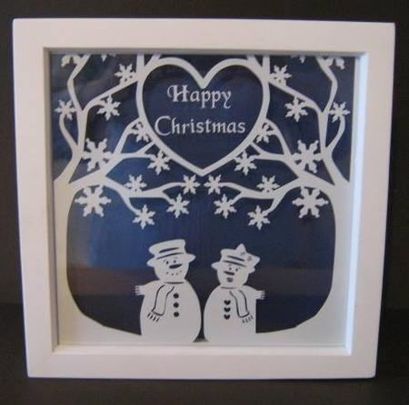 Square Snowflake Tree With Snow Couple Cutting File