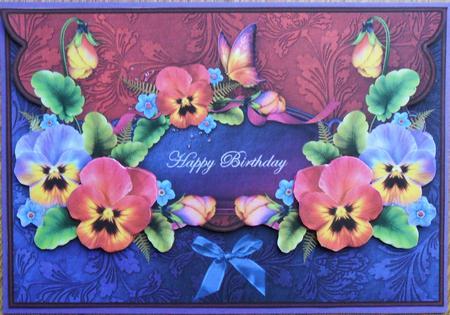 Pansies And Butterflies Envelope Card Happy Birthday