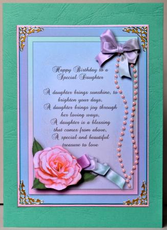Special Daughter Happy Birthday A4 Sheet With Verse
