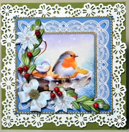 Christmas Robin White Poinsettia Decoupage Sheet