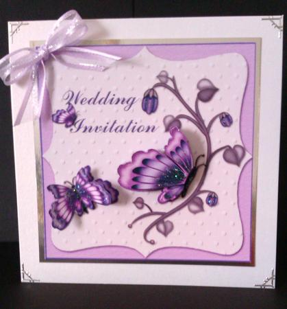 Wedding Invitation Purple Amp Cream Decoupage Card Front