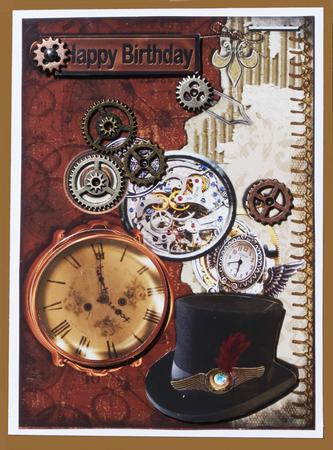 Steampunk Birthday Card  CUP495113_545  Craftsuprint