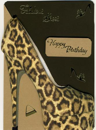 High Heel Shoe Shaped Front Card In Leopard Print