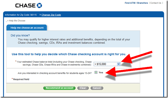 Chase Bank S Checking Account Recommender Is Flawed Finovate
