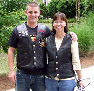Brent and his mom sporting our Buffalo Nickel Vests!