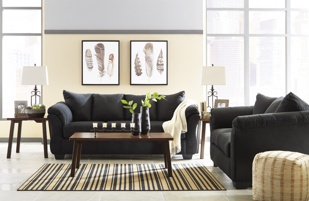 black sofa living room contemporary table darcy loveseat 75008 35 38 groups