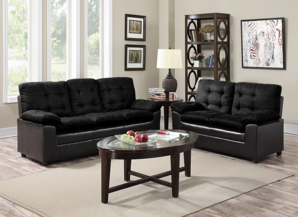 deals on living room furniture rooms with dark couches black microfiber sofa and love seat price busters