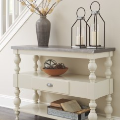 Antique White Living Room Tables Kitchen Color Ideas Fossil Ridge Console Sofa Table A4000013