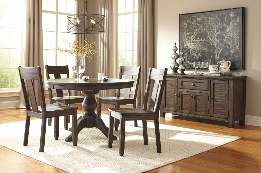 round dining chairs outdoor chair cusions trudell golden brown table 4 side d658 50b 50t 01 room groups today s rental