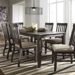 Dining Room Sets 6 Chairs Vine Chair Dresbar Grayish Brown Rectangular Table Uph Side