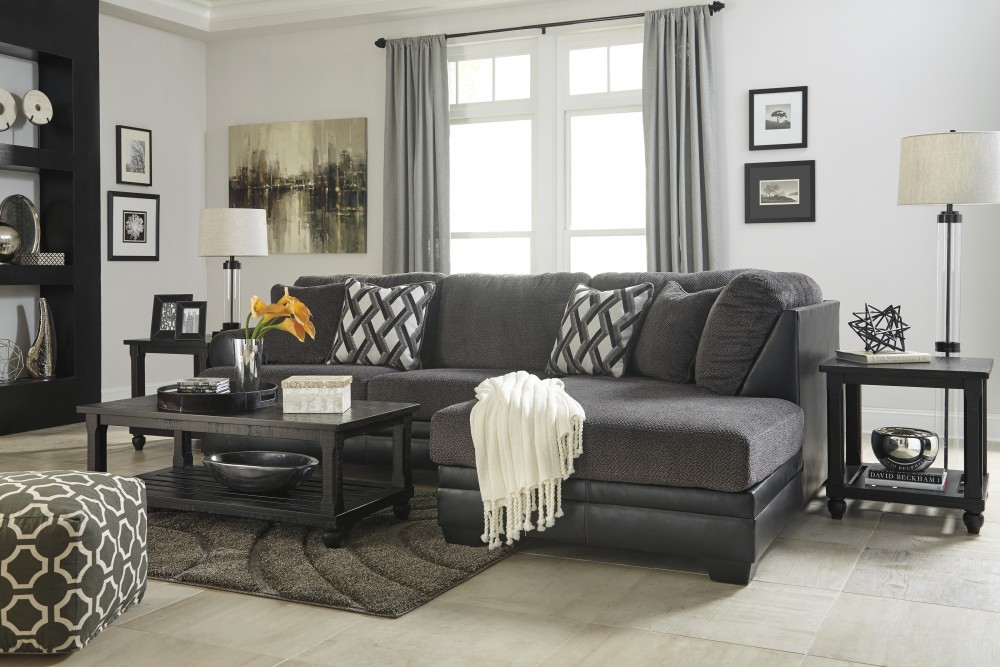 american furniture living room sectionals how to design ideas kumasi smoke 2 pc raf corner chaise sectional 32202 17 66