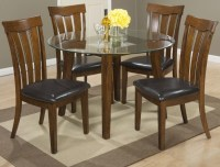 "Plantation 48"" Round Glass Top Dining Table With Four Slat ..."