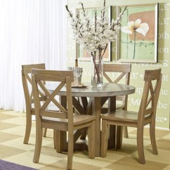 Concrete Kitchen Table Built In Seating Boulder Ridge Round Dining With Four X Back Chairs 5pc75743wxbackchair Room Groups Plourde Furniture Company