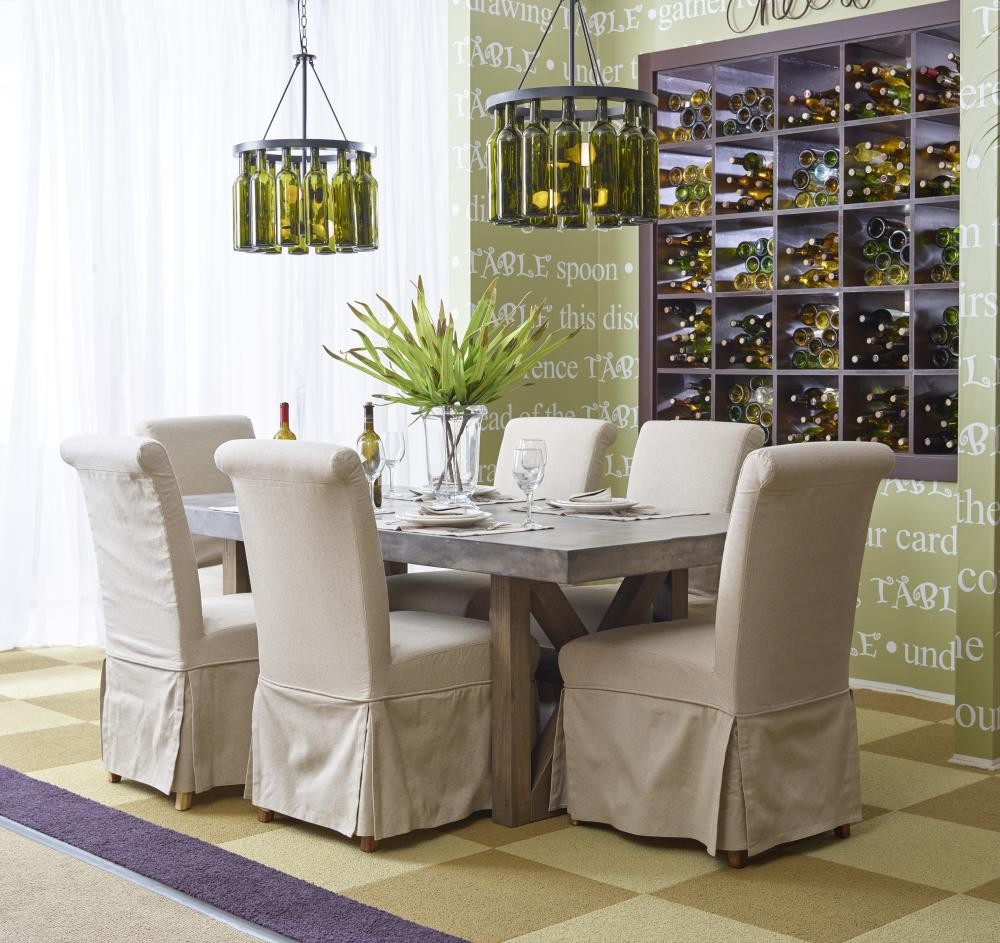 concrete kitchen table paint cabinets white boulder ridge rectangle dining with four slipcovered parson chairs 5pc75778wuphchair tables plourde furniture company