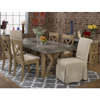 concrete kitchen table l shaped outdoor boulder ridge rectangle dining with four x back chairs