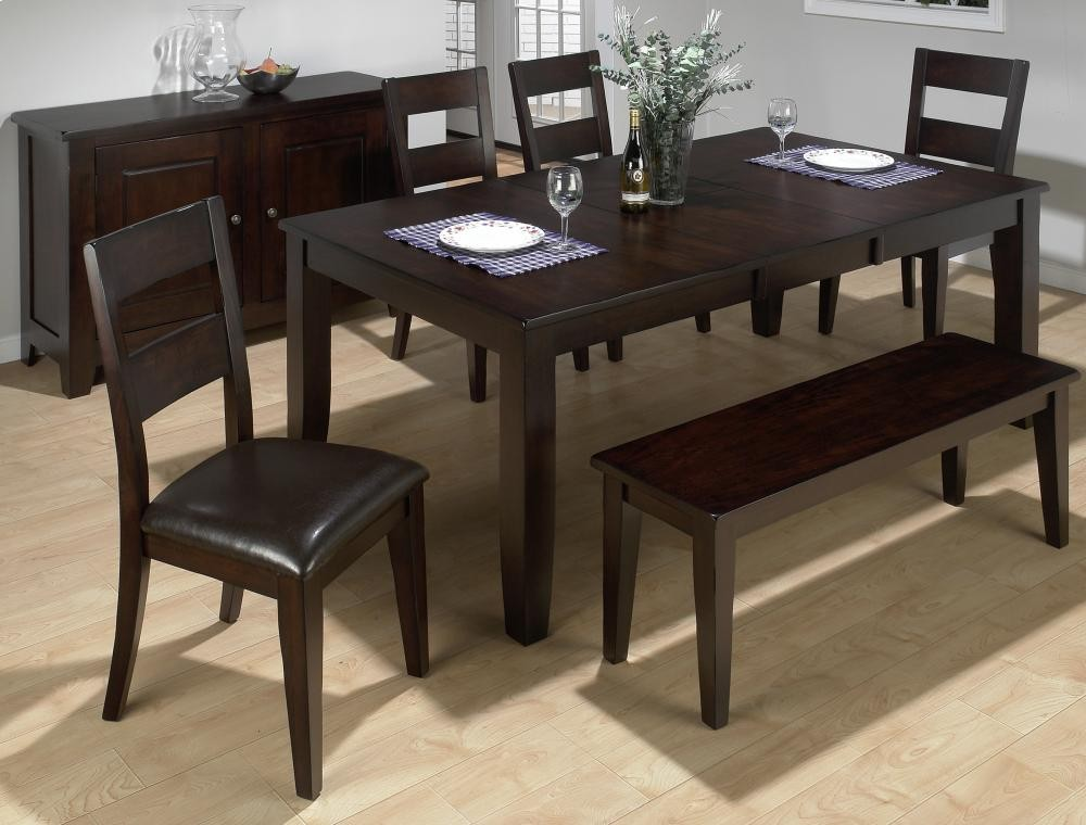 dark kitchen table spotlights rustic prairie rectangle dining with four chairs and one bench 6pc97277wbench room groups plourde furniture company