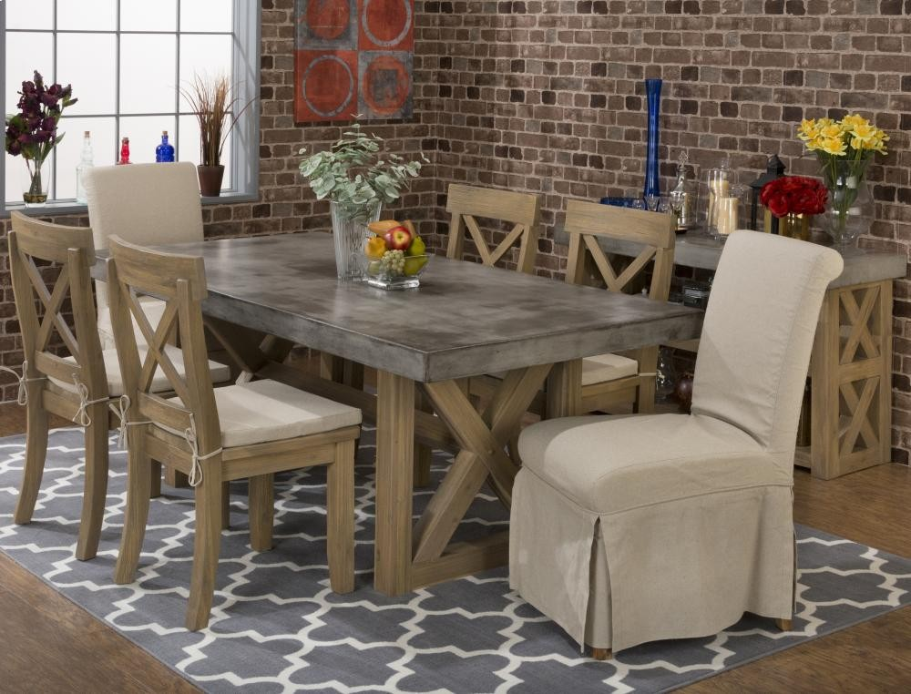 concrete kitchen table window curtain ideas boulder ridge rectangle dining with four x back