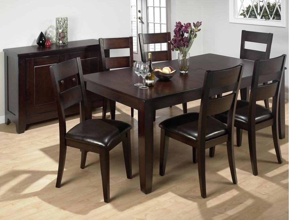 dark kitchen table kids play kitchens rustic prairie rectangle dining with six chairs 7pc97277 room groups plourde furniture company