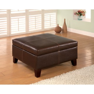 chocolate brown leather sectional sofa with 2 storage ottomans wicker outdoor cushions dark vinyl ottoman seat n sleep