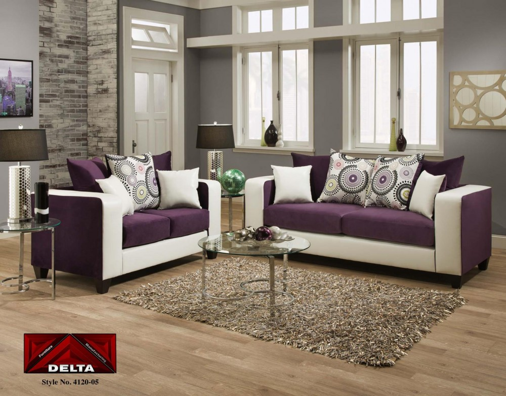 4120 Delta Purple And White Living Room Group 4120purple