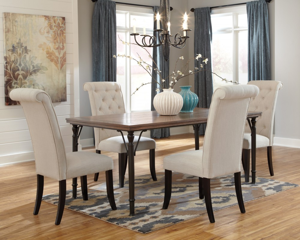 Table With Chairs Tripton Rectangular Dining Room Table 4 Uph Side Chairs
