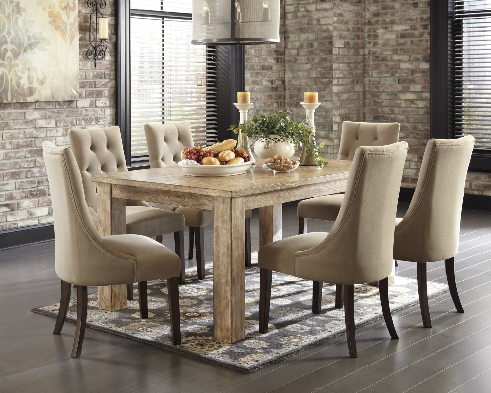 dining room sets 6 chairs hanging chair mestler bisque rectangular table light brown uph side