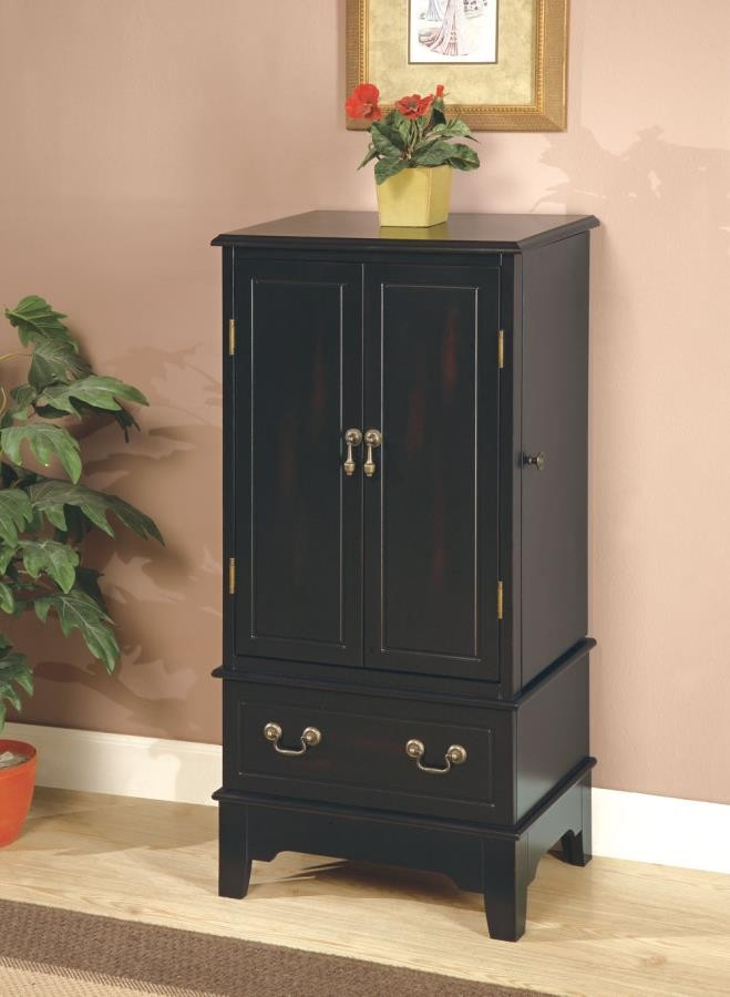 Transitional Black Jewelry Armoire  900095  Armoires
