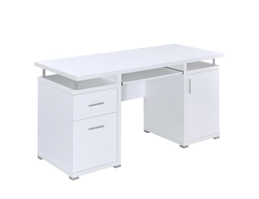 Tracy Desk Contemporary White Computer Desk 800108 Home Office Desks Price Busters Furniture