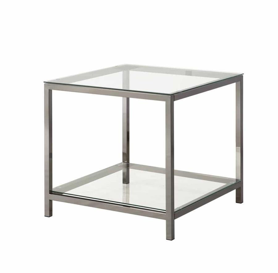 living room glass top occasional tables contemporary black nickel side table