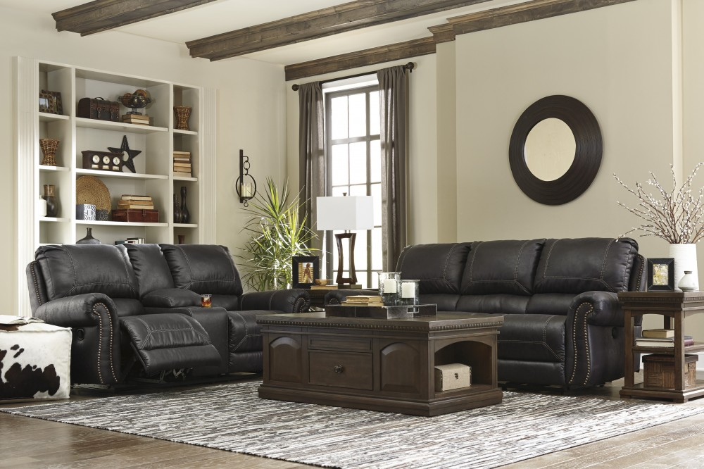 black reclining sofa with console 8 way hand tied leather milhaven dbl rec loveseat w