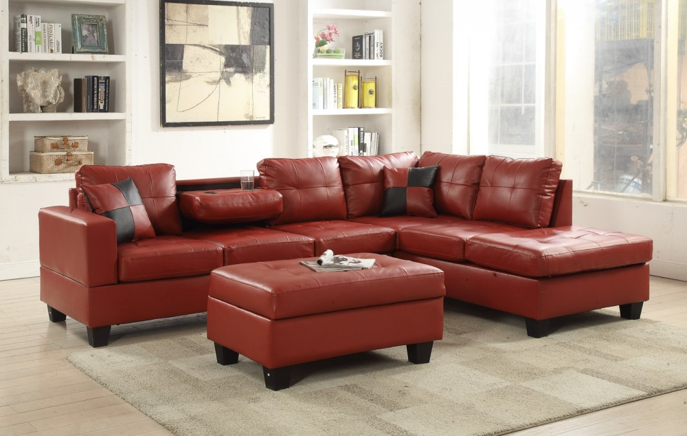 Red Faux Leather Sectional  8077804 Red  Sectional Sofas  Price Busters Furniture