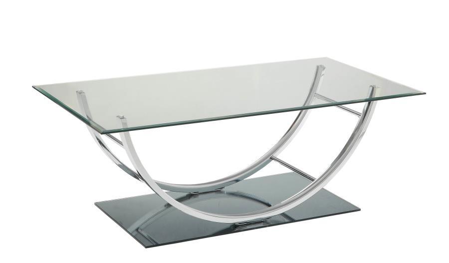 avison collection contemporary chrome coffee table