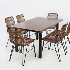Steel Chair Dining Table Lexmod Edge Office Urban Dweller Rattan And Metal Side Chairs Pruitt S