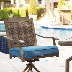 Swivel Rocker Outdoor Dining Chairs Antique Birthing Chair Partanna Blue Beige W Cushion 2 Cn P556 602a