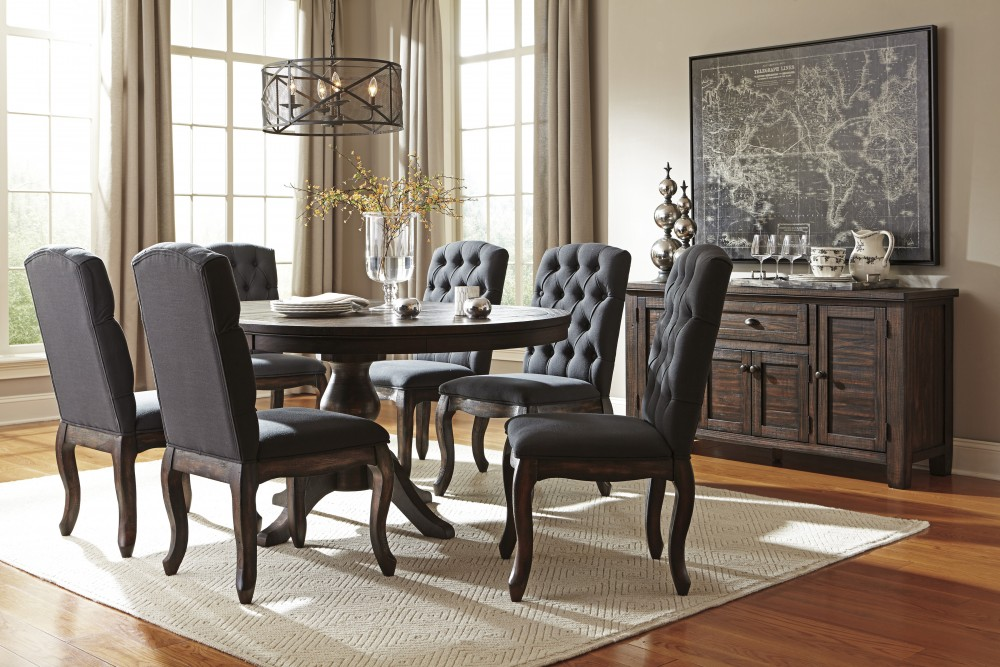 dining room sets 6 chairs twin baby high trudell golden brown round table uph side
