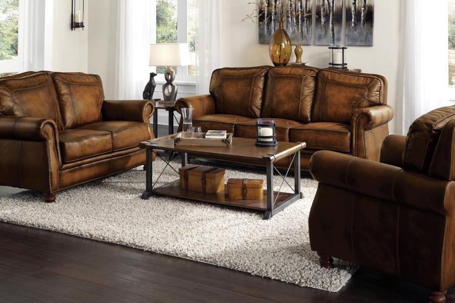 Montbrook Traditional Brown ThreePiece Living Room Set
